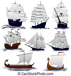 Old sailing ships Illustration on white background