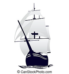 Sailing ship - Old sailing ship. Illustration on white...