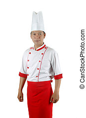 asian chef portrait isolated on white background