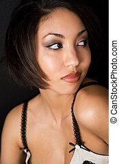 Beautiful face - A face shot of a beautiful black woman