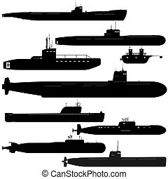 Submarines - Navy. A set of paths submarines. Black and...