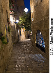 Old Jaffa - A narrow street at night in historic Jaffa ,...
