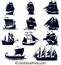 les, contours, voile, bateaux