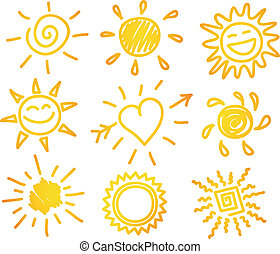 Hand-draw sun set - Vector illustration of Hand-draw sun set