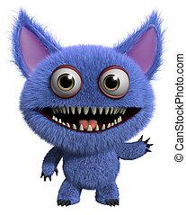 3d cartoon furry gremlin - 3d cartoon monster