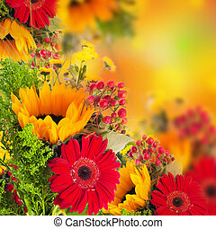Autumn flowers, bouquet from gerber and sunflowers