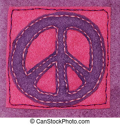 Hand-sewn Peace Sign - An anti-war symbol hand sewn on felt