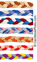 Color threads in a form of braid isolated over white...