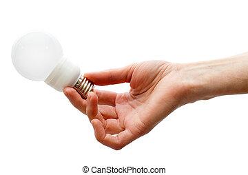 Hand holding led lightbulb - Hand holding white led...