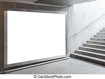 Blank billboard in hall - Blank billboard located in...