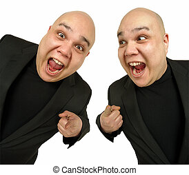 Two happy to see you - Two identical bald men pointing at...