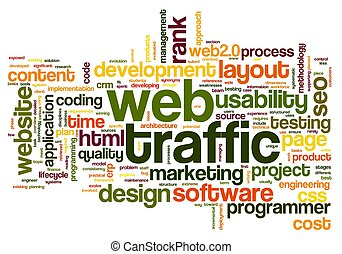 Web traffic concept in tag cloud - Web traffic concept in...