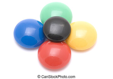 colored buttons on white
