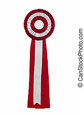 Purple ribbon award Rosette of purple and silver satin...