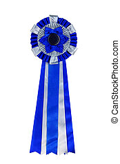 Blue ribbon award. Rosette of blue and silver satin fabric...