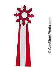 Red ribbon award Rosette of red and silver satin fabric with...