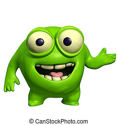 green cute monster
