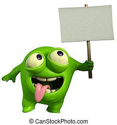 verde, monstro, segurando, painél publicitário