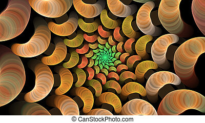 Orange Spiral - A fractal spiral in bright colors.