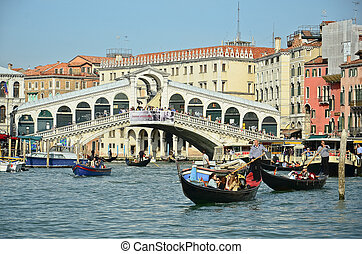 VENICE - March 28: Gondola at Rialto Bridge on March 28,...