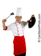 chef holding cooking utensils isolated on white background