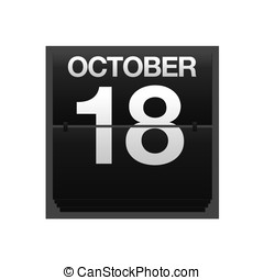 Counter calendar October 18. - Illustration with a counter...