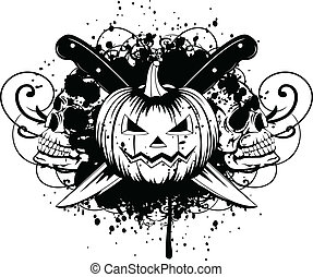halloween pumpkin with skulls - Vector illustration...