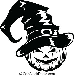 pumpkin in halloween hat - Vector illustration pumpkin in...