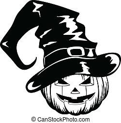 pumpkin in halloween hat - Vector illustration pumpkin in...