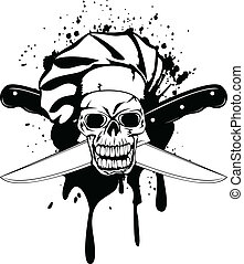 skull in toque and crossed knifes - Vector illustration...