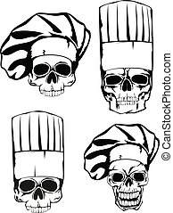 skull in toque set - Vector illustration skull in toque set