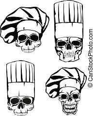 skull in toque set - Vector  illustration skull in toque set