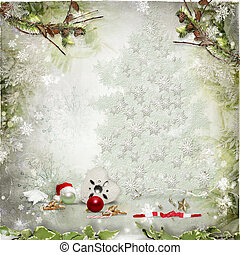 Christmas card - Art vintage Christmas greeting card