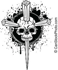 skull punched by wooden wedges - Vector illustration punched...