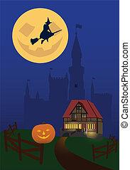 Helloween-5 - Illustration on a theme halloween. House on...