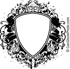 skulls in graduation cap and shield - Vector illustration...