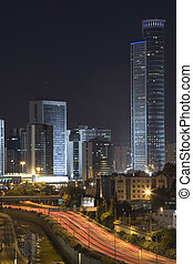 The night city, Business centre Ramat Gan, Israel, highway