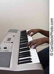 Pianist playing Electronic piano keyboard