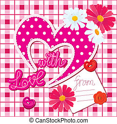 Romantic Card with heart and flower