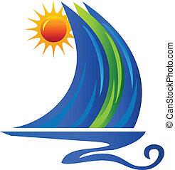barca, onde, sole, logotipo