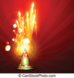 diwali fireworks - beautiful festival fireworks on red...