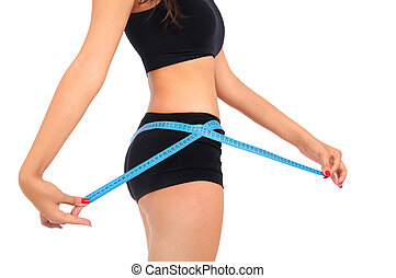 Isolated fitness woman - Isolated young fitness woman...