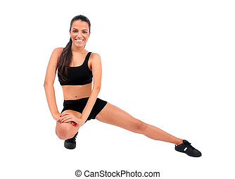Isolated fitness woman - Isolated young fitness woman on...
