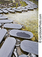 step-by-step stone road - View of a curved step-by-step...
