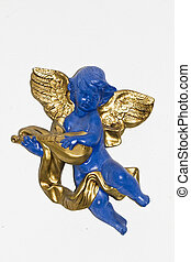blue angel with golden wings - Close view detail of a blue...
