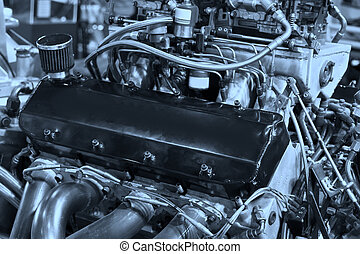 Motor engine - The motor engine with closeup in car