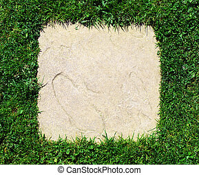 Grass border and stone slab background texture