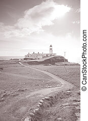 Neist Point Lighthouse, Isle of Skye, Scotland, UK in Black...
