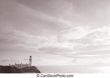 Neist Point, Lighthouse, Isle of Skye, Scotland, UK in Black...