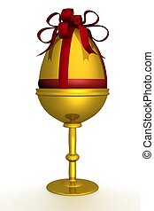 Gold egg in packing 3D image The isolated illustration